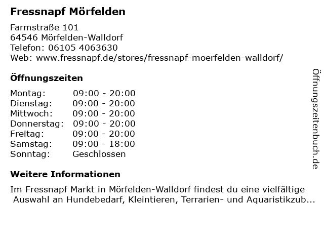 Fressnapf Mörfelden-Walldorf in Mörfelden-Walldorf: Adresse und Öffnungszeiten