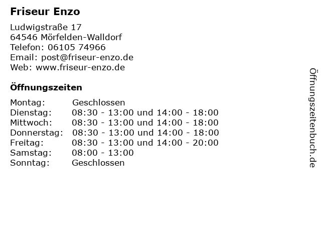 Friseur Enzo in Mörfelden-Walldorf: Adresse und Öffnungszeiten