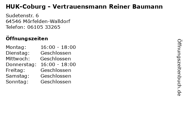 HUK-Coburg - Vertrauensmann Reiner Baumann in Mörfelden-Walldorf: Adresse und Öffnungszeiten