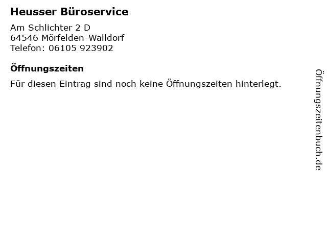 Heusser Büroservice in Mörfelden-Walldorf: Adresse und Öffnungszeiten