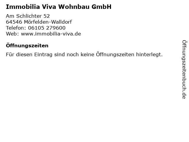 Immobilia Viva Wohnbau GmbH in Mörfelden-Walldorf: Adresse und Öffnungszeiten