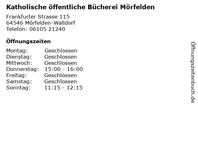 Katholische öffentliche Bücherei Mörfelden in Mörfelden-Walldorf: Adresse und Öffnungszeiten