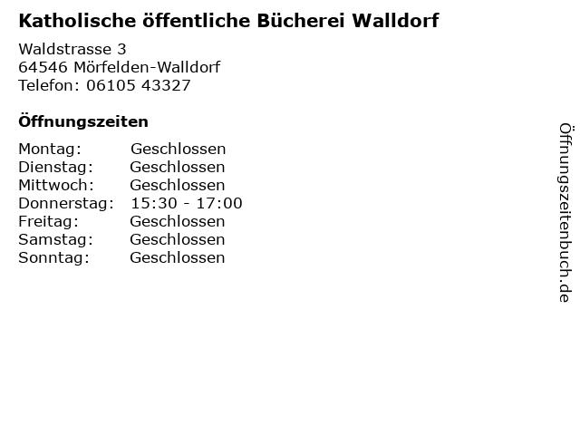 Katholische öffentliche Bücherei Walldorf in Mörfelden-Walldorf: Adresse und Öffnungszeiten