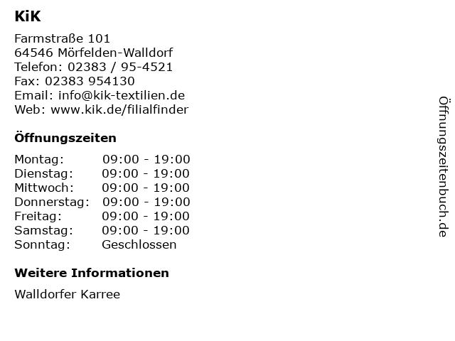 KiK Textilien & Non-Food GmbH in Mörfelden-Walldorf: Adresse und Öffnungszeiten