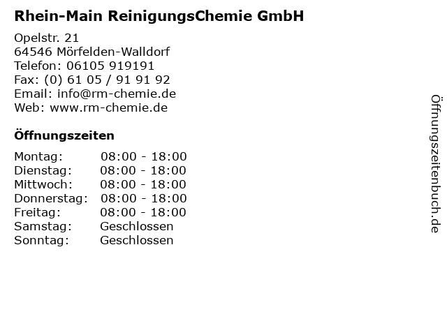 Rhein-Main ReinigungsChemie GmbH in Mörfelden-Walldorf: Adresse und Öffnungszeiten