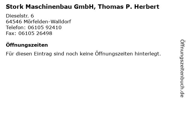 Stork Maschinenbau GmbH, Thomas P. Herbert in Mörfelden-Walldorf: Adresse und Öffnungszeiten