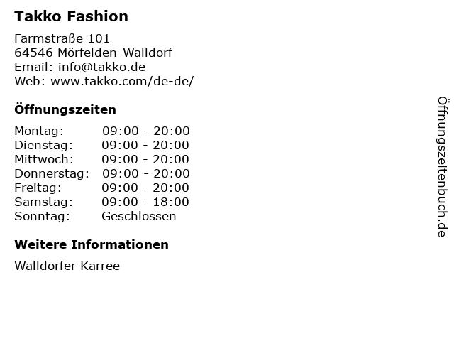 Takko Fashion in Mörfelden-Walldorf: Adresse und Öffnungszeiten