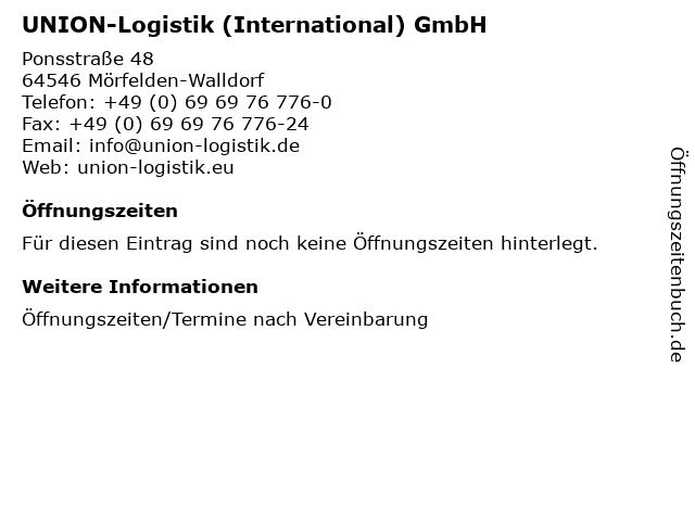 UNION-Logistik (International) GmbH in Mörfelden-Walldorf: Adresse und Öffnungszeiten