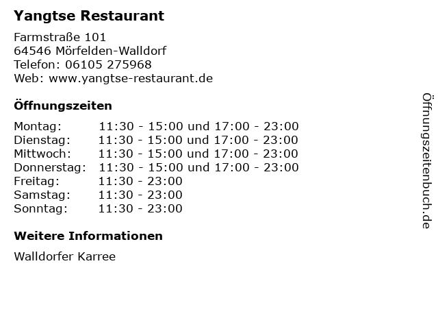 Yangtse Restaurant in Mörfelden-Walldorf: Adresse und Öffnungszeiten