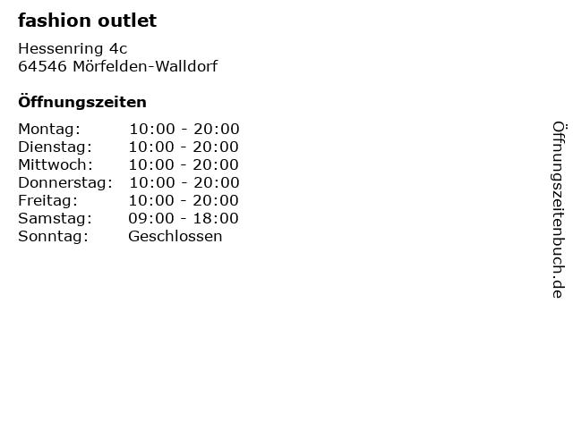 fashion outlet in Mörfelden-Walldorf: Adresse und Öffnungszeiten