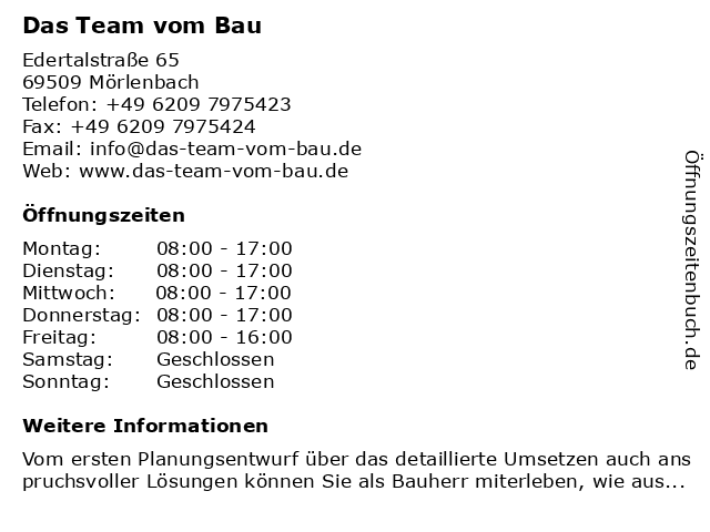 Das Team vom Bau in Mörlenbach: Adresse und Öffnungszeiten