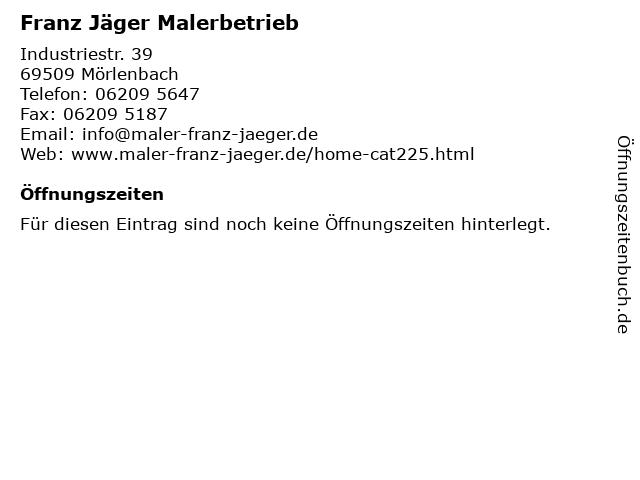 Franz Jäger Malerbetrieb in Mörlenbach: Adresse und Öffnungszeiten