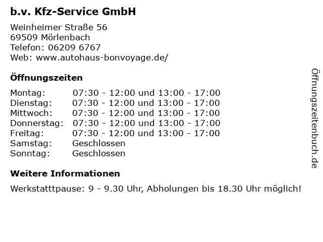 b.v. Kfz-Service GmbH in Mörlenbach: Adresse und Öffnungszeiten