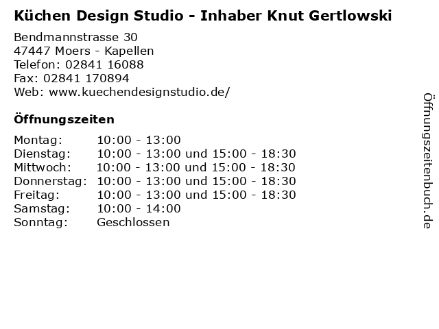 Küchen Design Studio - Inhaber Knut Gertlowski in Moers - Kapellen: Adresse und Öffnungszeiten