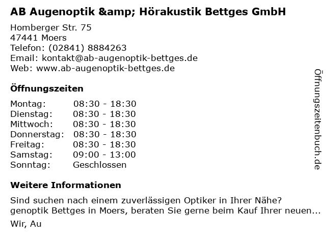 AB Augenoptik & Hörakustik Bettges GmbH in Moers: Adresse und Öffnungszeiten