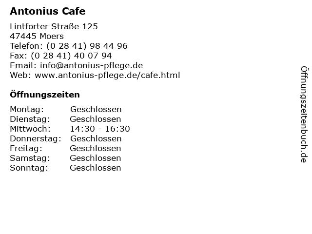 Antonius Cafe in Moers: Adresse und Öffnungszeiten