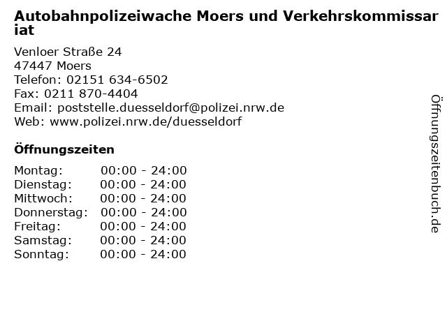 Autobahnpolizeiwache Moers und Verkehrskommissariat in Moers: Adresse und Öffnungszeiten