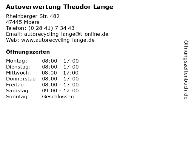 Autoverwertung Theodor Lange in Moers: Adresse und Öffnungszeiten