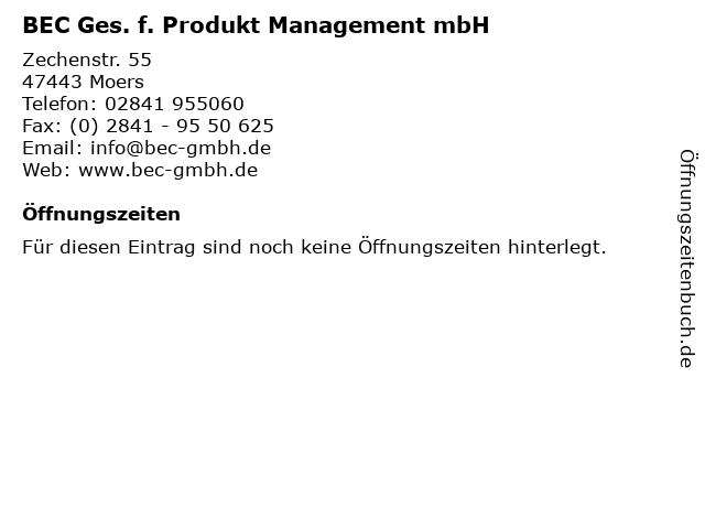 BEC Ges. f. Produkt Management mbH in Moers: Adresse und Öffnungszeiten