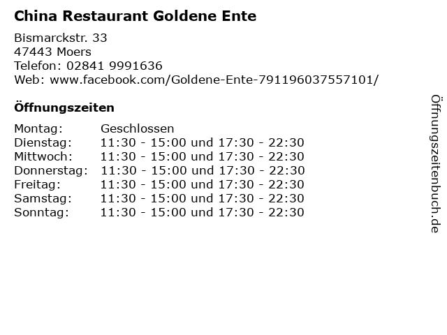 China Restaurant Goldene Ente in Moers: Adresse und Öffnungszeiten