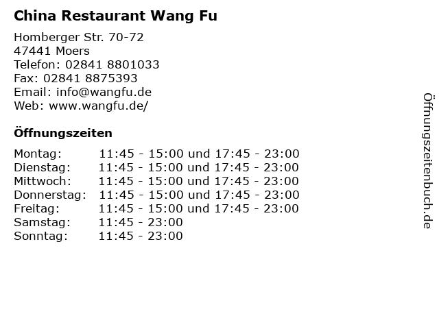 China Restaurant Wang Fu in Moers: Adresse und Öffnungszeiten
