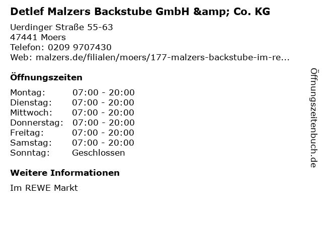 Detlef Malzers Backstube GmbH & Co. KG in Moers: Adresse und Öffnungszeiten