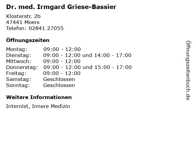 Dr. med. Irmgard Griese-Bassier in Moers: Adresse und Öffnungszeiten