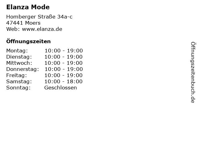 Elanza Mode in Moers: Adresse und Öffnungszeiten