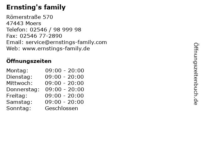 Ernsting's family in Moers: Adresse und Öffnungszeiten
