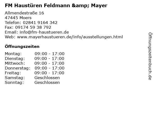 "Häufig ᐅ Öffnungszeiten ""FM Haustüren Feldmann & Mayer"" | Allmendestraße UV35"