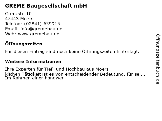 GREME Baugesellschaft mbH in Moers: Adresse und Öffnungszeiten