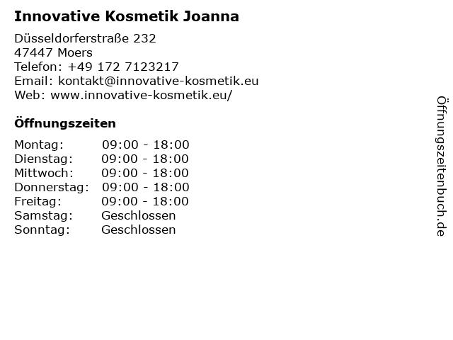 Innovative Kosmetik Joanna in Moers: Adresse und Öffnungszeiten
