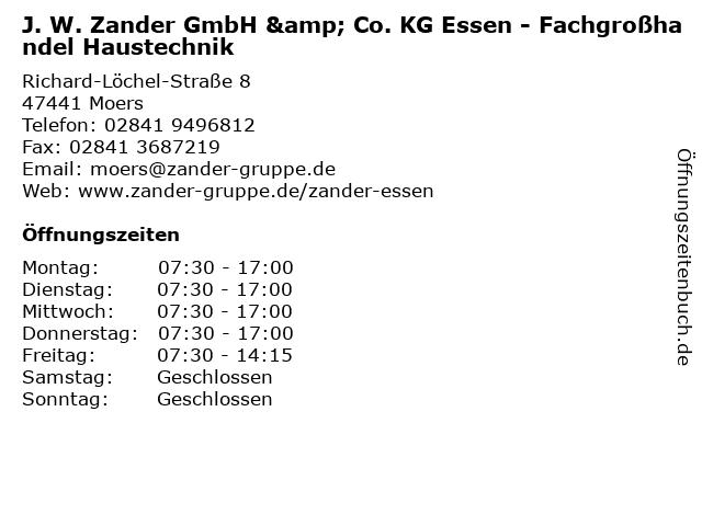 J. W. Zander GmbH & Co. KG Essen - Fachgroßhandel Haustechnik in Moers: Adresse und Öffnungszeiten