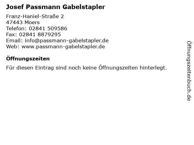 Josef Passmann Gabelstapler in Moers: Adresse und Öffnungszeiten