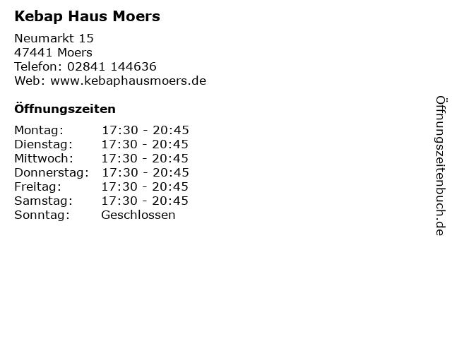 Kebap Haus in Moers: Adresse und Öffnungszeiten