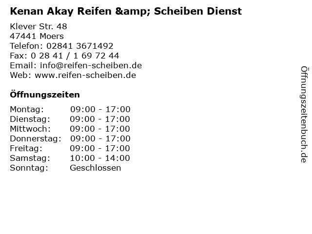 Kenan Akay Reifen & Scheiben Dienst in Moers: Adresse und Öffnungszeiten