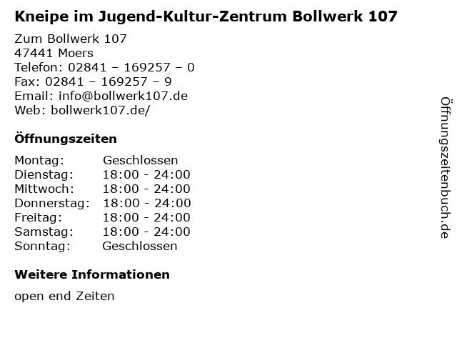 Kneipe im Jugend-Kultur-Zentrum Bollwerk 107 in Moers: Adresse und Öffnungszeiten