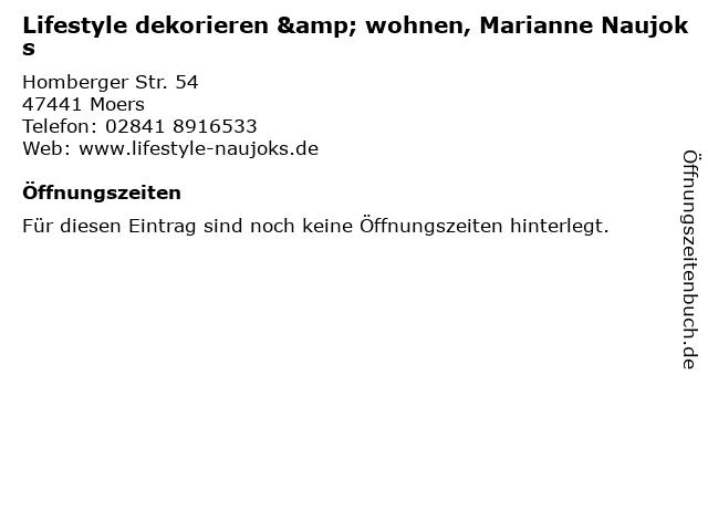 Lifestyle dekorieren & wohnen, Marianne Naujoks in Moers: Adresse und Öffnungszeiten