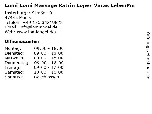 Lomi Lomi Massage Katrin Lopez Varas LebenPur in Moers: Adresse und Öffnungszeiten