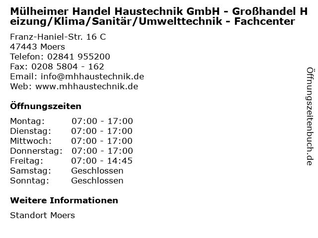 Mülheimer Handel Haustechnik GmbH - Großhandel Heizung/Klima/Sanitär/Umwelttechnik - Fachcenter in Moers: Adresse und Öffnungszeiten