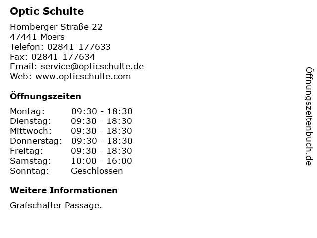Optic Schulte in Moers: Adresse und Öffnungszeiten