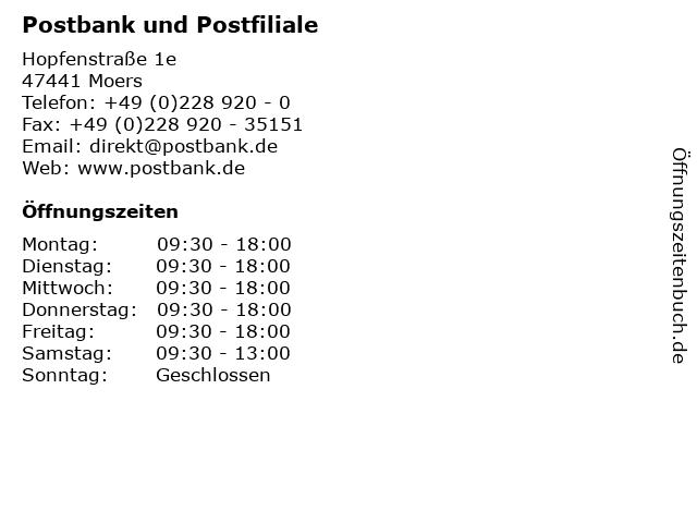 Postbank und Postfiliale in Moers: Adresse und Öffnungszeiten