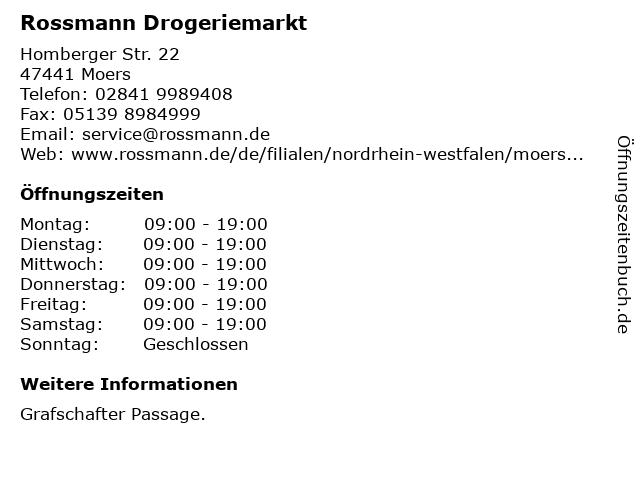 Rossmann Drogeriemarkt in Moers: Adresse und Öffnungszeiten