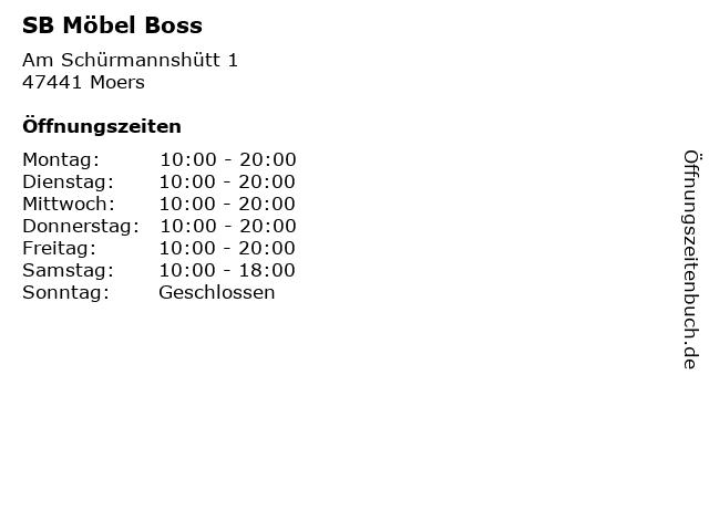 ᐅ öffnungszeiten Sb Möbel Boss Am Schürmannshütt 1 In Moers