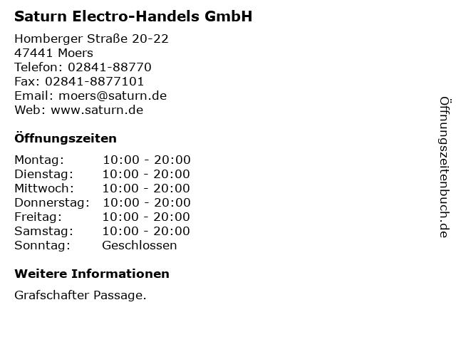 Saturn Electro-Handels GmbH in Moers: Adresse und Öffnungszeiten
