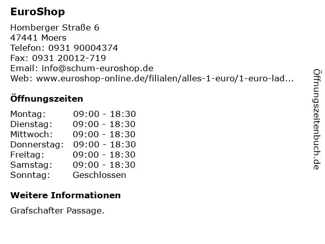Schum EuroShop GmbH & Co. KG in Moers: Adresse und Öffnungszeiten