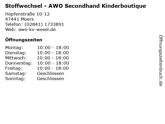 Stoffwechsel - AWO Secondhand Kinderboutique in Moers: Adresse und Öffnungszeiten