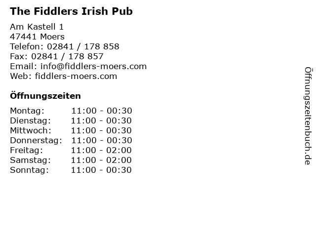 The Fiddlers Irish Pub in Moers: Adresse und Öffnungszeiten