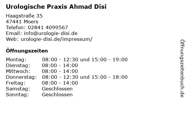 Urologische Praxis Ahmad Disi in Moers: Adresse und Öffnungszeiten