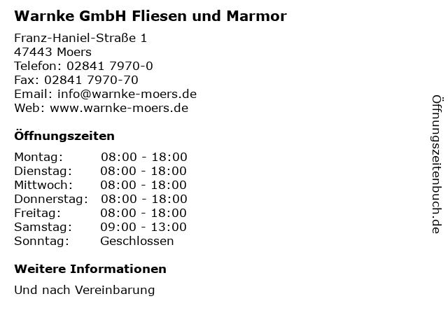 Warnke GmbH Fliesen und Marmor in Moers: Adresse und Öffnungszeiten